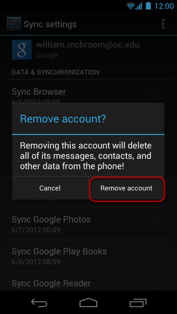 "Select ""Remove Account"" again."