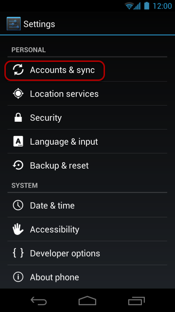 """Select """"Accounts and Sync""""."""