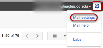 """To customize the background of your Gmail account, click the gear icon in the upper right-hand corner and then click """"Mail Settings""""."""