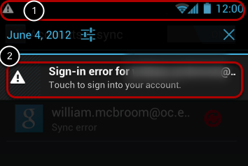 """Pull down the """"Menu"""" bar from the top of the screen to show the Sync Error."""
