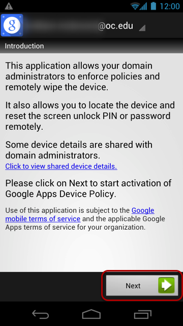 """Select """"Next"""" to being activation of the Security Policy."""