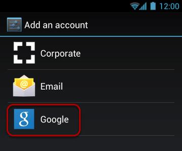 "Select ""Google""."