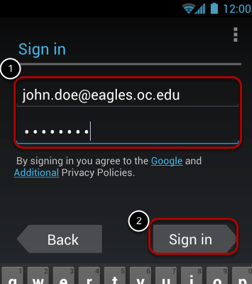 Enter your OC email address and password.
