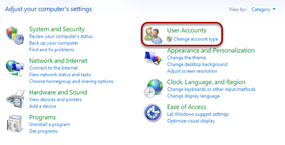 "In the Category view, select ""User Accounts""."