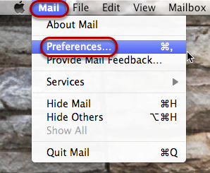 "In Mail, select ""Mail"" and then ""Preferences""."
