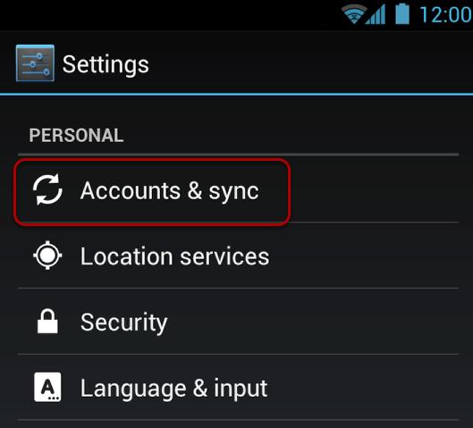 "Select ""Account & sync""."