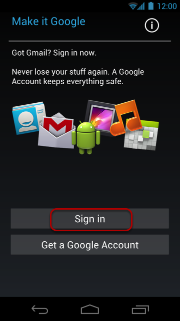 """Select """"Sign in,"""" because you already have a Google Account."""