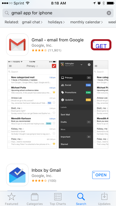 Download the Gmail App from the App Store