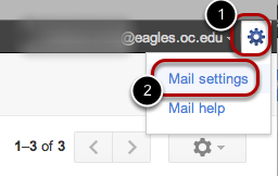 "Click the gear icon in the upper-right and select ""Mail settings"" at the top of the page."