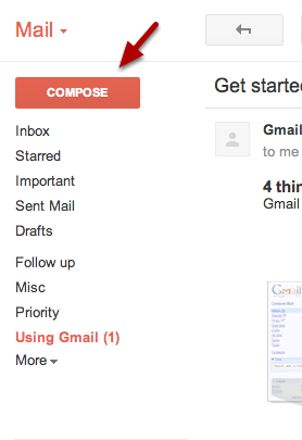 Click the Compose button on the left side of your Gmail page.