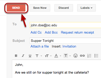 """When you're done composing, click the """"Send"""" button."""