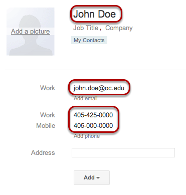 Enter your contact's information in the appropriate fields.