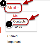 """Click """"Mail"""" at the top-left corner of your Gmail page, then choose """"Contacts""""."""