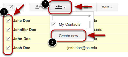 """Select contacts that you want to add to a group, click the """"Groups"""" button, then """"Create new""""."""