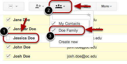 To add contacts to a contact group:
