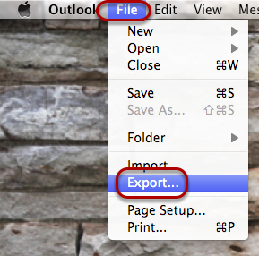 "In Outlook, on the top left corner of your screen, select ""File"" and then ""Export""."