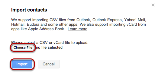 "Click ""Choose File"" and select the file that you created from Outlook, and select ""Import""."