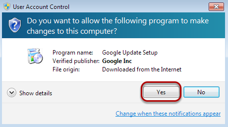 "A dialogue box may pop up and ask for permission to download. Click ""Yes""."