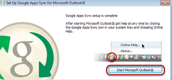 "Select ""Start Microsoft Outlook""."