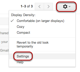 """On the Gmail page, click the gear icon in the upper right and select """"Settings""""."""