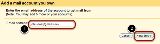 """Type in the email address of the account you own, and click """"Next Step."""""""