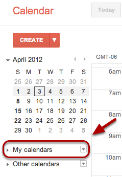 """Click the drop-down arrow to the right of """"My Calendars""""."""