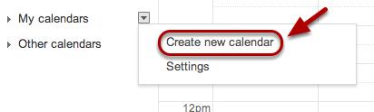 "Select ""Create a new calendar""."