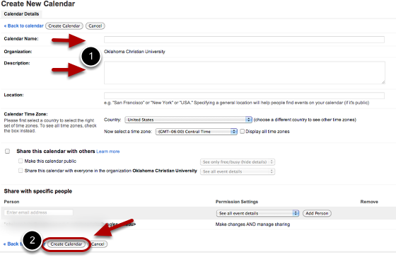 """Enter information about your new calendar, and then click the """"Create calendar"""" button."""