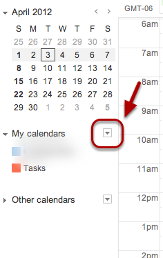 In the calendar list on the left side of the page, click the down-arrow button next to a calendar.