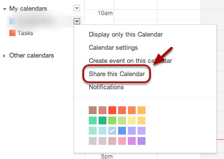 "Select ""Share this Calendar""."