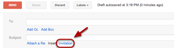 """Select the """"Invitation"""" link, found under the """"Subject:"""" field."""