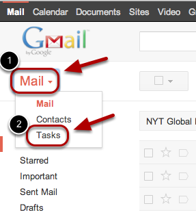"""To get started, click """"Mail"""" in the top left corner of your Gmail page, then choose """"Tasks""""."""