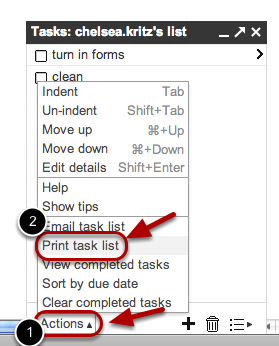 """To print your tasks, click """"Actions,"""" followed by """"Print task list""""."""