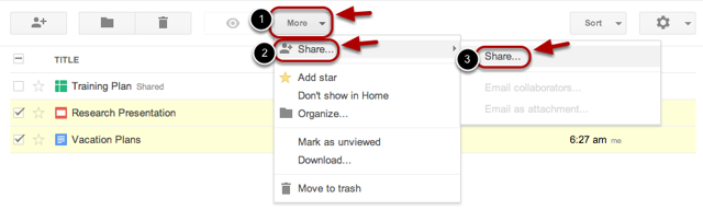 """Click the """"More"""" drop-down menu, and select """"Share""""."""