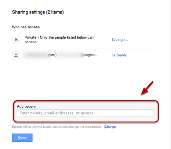 Type the email addresses of the people you want to share with.