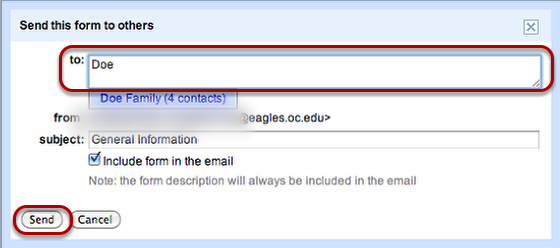 """Input the email addresses you would like to send the form to and click """"Send""""."""