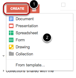 "Click the ""Create"" button, and select which type of document you would like to create."