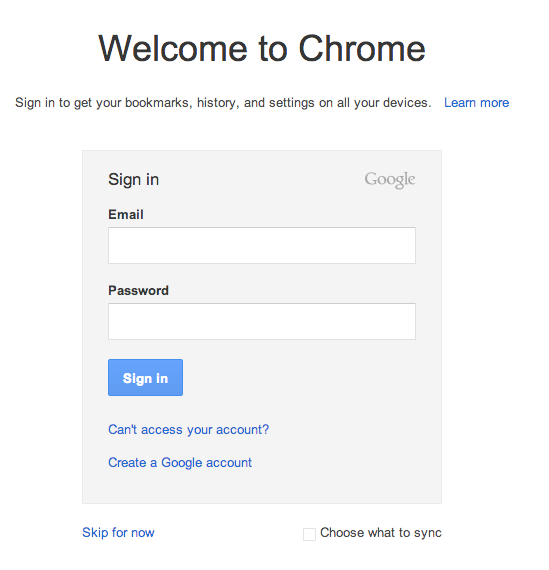 Log in to Google Chrome - for first time users