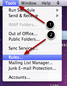 Email rules in Outlook 2011 for the Mac