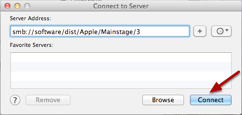 Connect to smb://software/dist/Apple/Mainstage/3