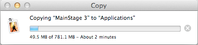 Copy Mainstage 3 to your Applications folder