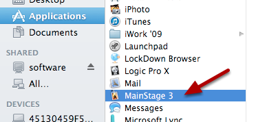 "Double click on the ""Mainstage 3"" application to launch it"