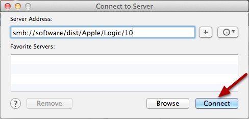 Connect to smb://software/dist/Apple/Logic/10