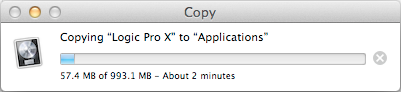 "Copy the ""Logic Pro X"" file to your Applications folder"