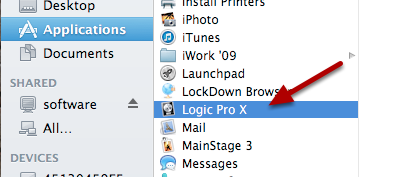 "Double click ""Logic Pro X"" to begin the download"
