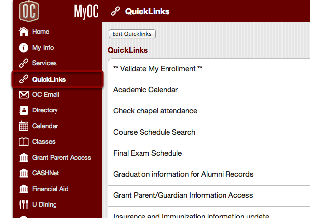 """Go to the """"QuickLinks"""" Tab to View QuickLinks"""