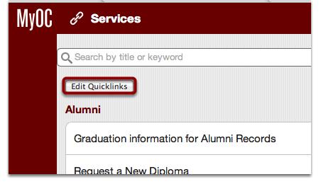 "Click the ""Edit Quicklinks"" Button"