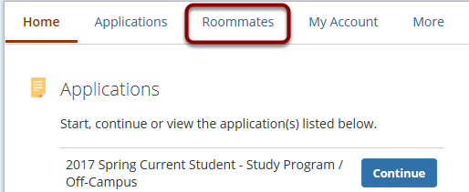 2. Select the 'Roommates' tab at the top of the page