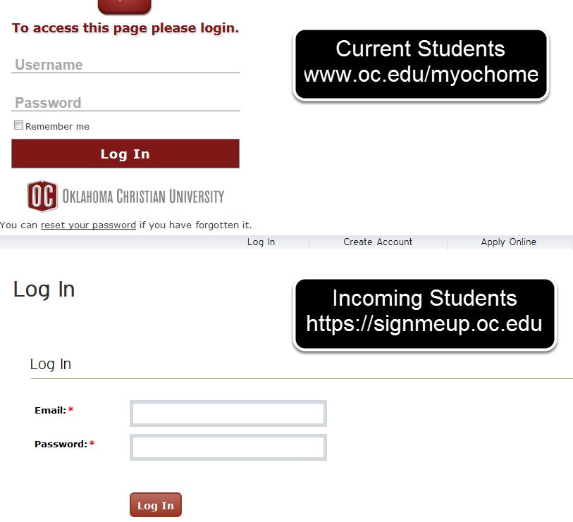 1. Log into your MyOC Account