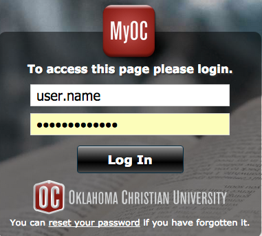 Log in to your MyOC account using you OC credentials.